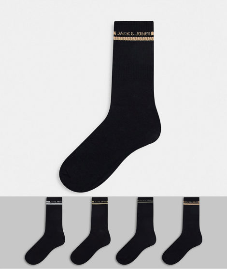 Jack & Jones - 4er-Set Socken mit Streifen und Logo in Schwarz
