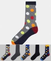 Jack & Jones - 5er-Pack mehrfarbige Socken mit Tupfenmuster-Grün