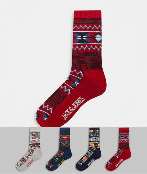 Jack & Jones - Bunte Socken im 4er-Pack-Mehrfarbig