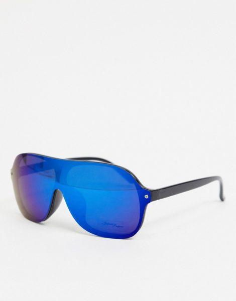 Jeepers Peepers - Runde Sonnenbrille mit schwarz/blauem Glas
