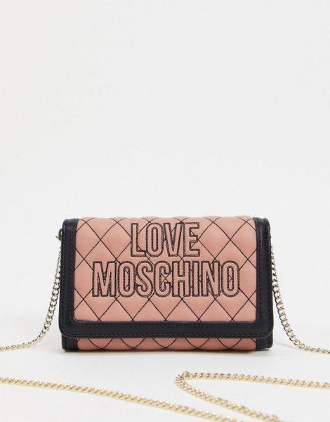 Love Moschino - Gesteppte Geldbörsen-Tasche mit Kettenriemen und Kontrastnähten in Hellrosa