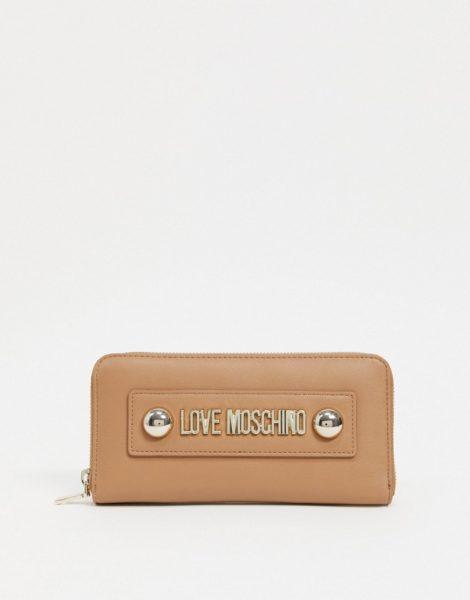 Love Moschino - Großes Portemonnaie mit abgerundeten Nieten in Camel-Beige