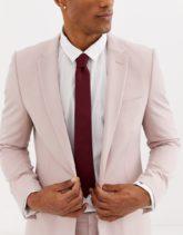 Moss London - Strukturierte Krawatte in Burgunderrot