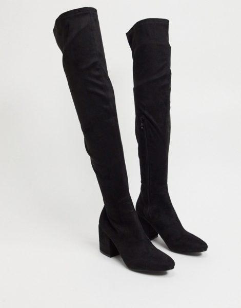 RAID - Kola - Schwarze Overknee-Stiefel mit rundem Zehenbereich