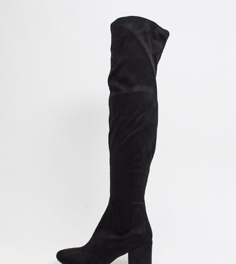 RAID Wide Fit - Kola - Schwarze Overknee-Stiefel mit runder Zehenpartie