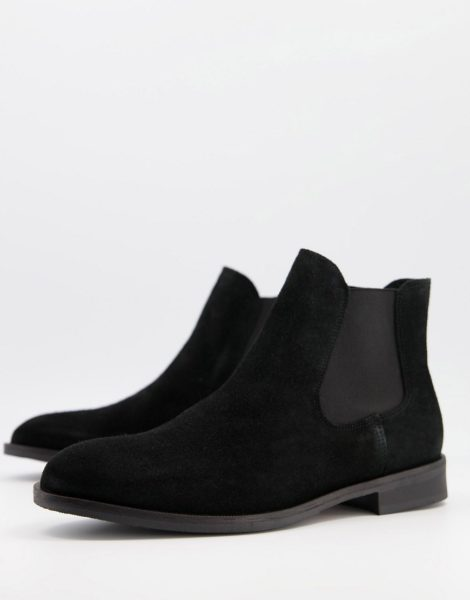 Selected Homme - Schwarze Chelsea-Stiefel aus Wildleder