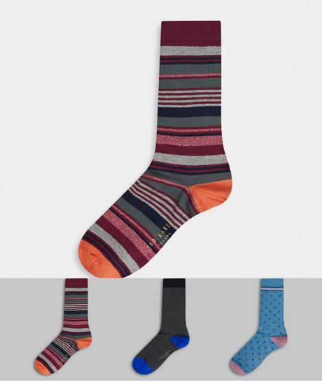Ted Baker - 3er-Pack Socken-Geschenkset-Mehrfarbig
