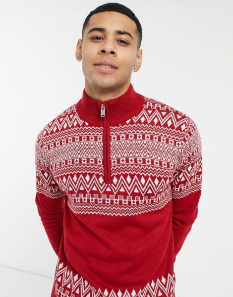 Threadbare - Roter Weihnachtspullover mit Reißverschlusskragen und Fair-Isle-Muster