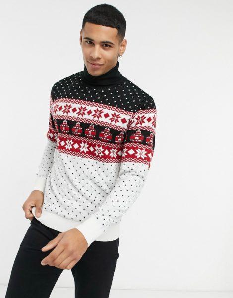 Threadbare - Weihnachtspullover mit Rollkragen und Fair-Isle-Muster-Mehrfarbig