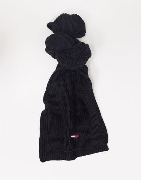 Tommy Jeans - Gerippter, schwarzer Basic-Schal mit Flaggenlogo