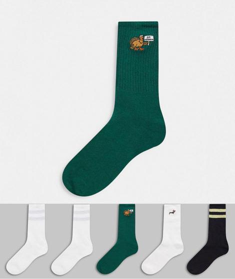 Topman - Bunte Socken mit weihnachtlichen Figuren im 5er-Pack-Mehrfarbig