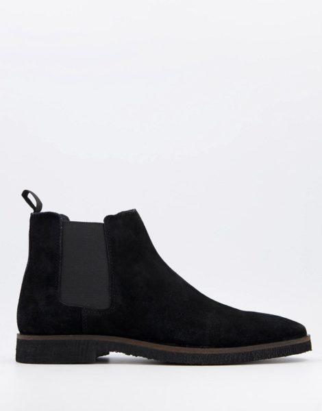 Walk London - Hornchurch - Chelsea-Stiefel aus schwarzem Wildleder