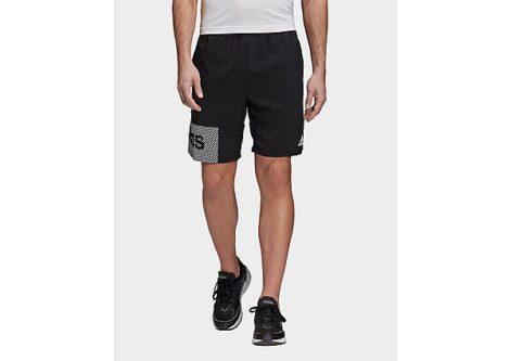 adidas Designed to Move Primeblue Branded Shorts - Black / White - Herren, Black / White
