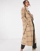 & Other Stories - Karierter Mantel aus brauner Wollmischung mit Gürtel