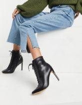 ALDO - Schnürstiefel mit Stilettoabsatz aus schwarzem Leder