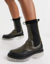 ASOS DESIGN - Admire - Chelsea-Stiefel mit dicker Sohle aus hochwertigem Leder in Khaki-Grün