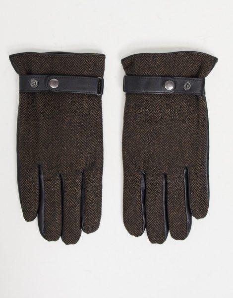 ASOS DESIGN - Braune Touchscreen-Autofahrerhandschuhe aus Leder mit Fischgrätenmuster
