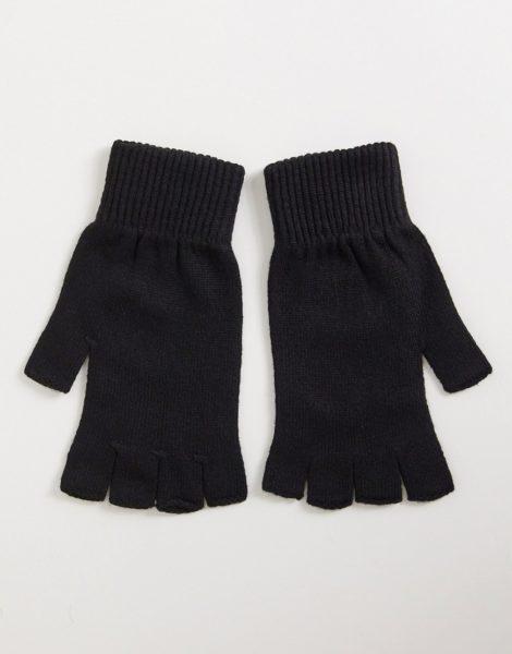 ASOS DESIGN - Fingerlose, schwarze Handschuhe-Grün