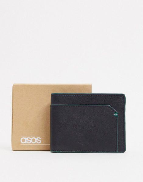 ASOS DESIGN - Geldbörse aus Leder mit Kartenfach in Schwarz