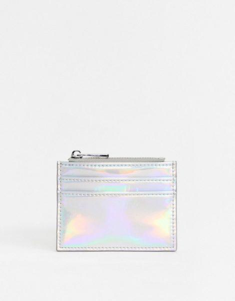 ASOS DESIGN - Geldbörse mit Kartenetui in Metallic-Silber