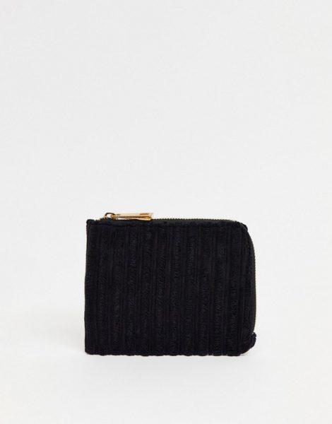 ASOS DESIGN - Geldbörse mit Kartenfach und kontrastierendem Rundum-Reißverschluss aus schwarzem Cord
