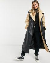 ASOS DESIGN - Hybrid-Mantel mit Gürtel im Lederlook in Camel/Schwarz-Mehrfarbig