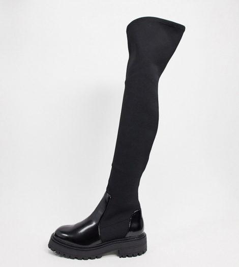ASOS DESIGN - Keeley - Flache, kniehohe Stiefel mit dicker Sohle und weiter Passform in Schwarz