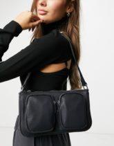 ASOS DESIGN - Schwarze Schultertasche mit mehreren Taschen aus gekörntem PU-Mehrfarbig