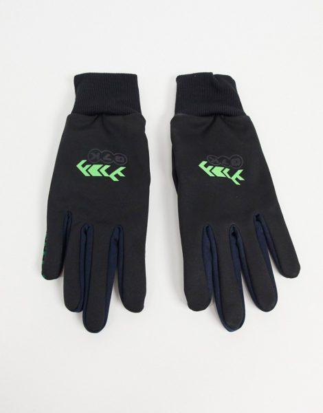 ASOS DESIGN - Schwarze Touchscreen-Handschuhe mit neonfarbenem Detail