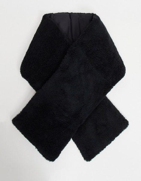 ASOS DESIGN - Teddystoff-Schal in Schwarz