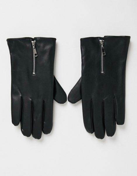 ASOS DESIGN - Touchscreen-Handschuhe aus Kunstleder mit Reißverschluss-Detail-Schwarz