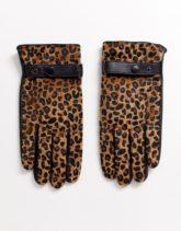 ASOS DESIGN - Touchscreen-Handschuhe aus schwarzem Leder mit Leopardenmuster in Ponyfelloptik