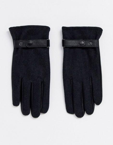 ASOS DESIGN - Touchscreen-Handschuhe aus schwarzem Leder mit anthrazitgrauem Einsatz