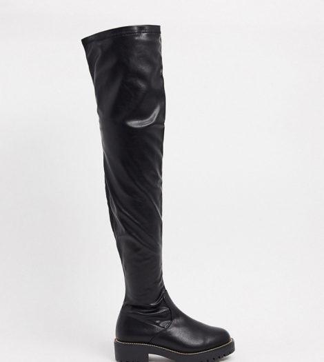 ASOS DESIGN Wide Fit - Kate - Flache, kniehohe Stiefel in Schwarz