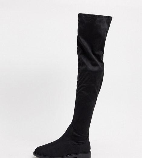 ASOS DESIGN Wide Fit - Kennedy - Flache, kniehohe Stiefel in Schwarz