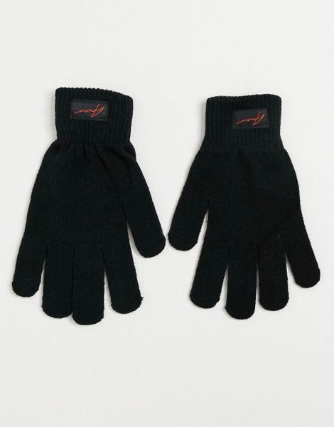 Amour - Handschuhe mit Markenlogo-Schwarz