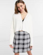 Cotton:On - Gerippte Strickjacke in Creme mit Reißverschluss