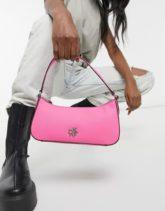 DKNY - Schultertasche aus Leder in Rosa