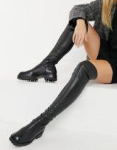 E8 by Miista - Abilene - Schwarze Overknee-Stiefel aus Leder