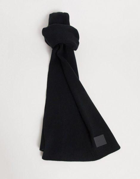 HUGO - Zevo - Schal in Schwarz mit kontrastierendem Logo, ANZUG 1