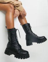Koi Footwear - Fontaine - Klobige Stiefel aus veganem Leder in Kroko-schwarz