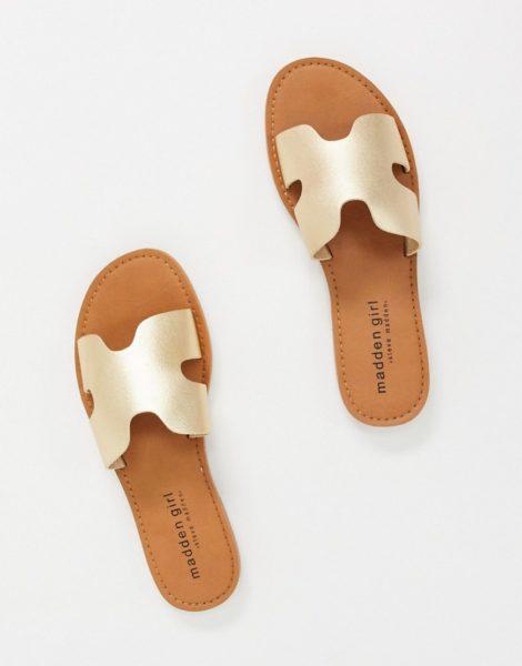 Madden Girl - Flache Sandalen mit zwei Schnallen in Gold