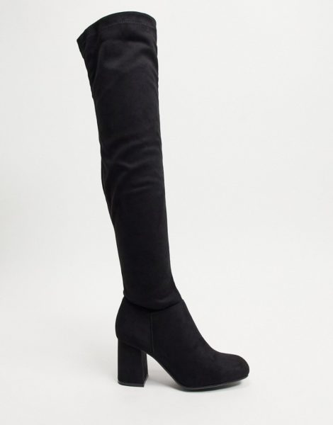 Pimkie - Kniehohe Stiefel in Schwarz aus Wildlederimitat mit Absatz