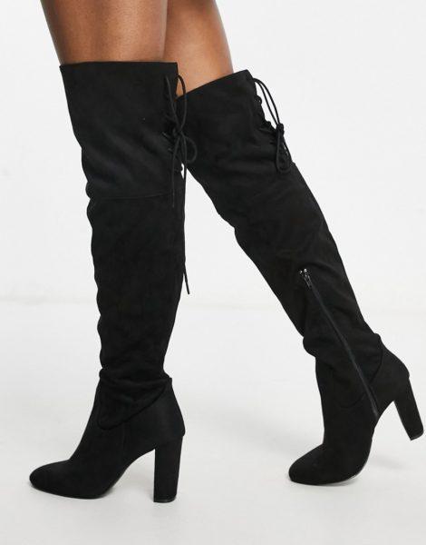 QUPID - Overknee-Stiefel in Schwarz