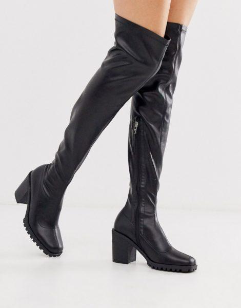 RAID - Rebekah - Kniehohe, klobige Stiefeletten in Schwarz