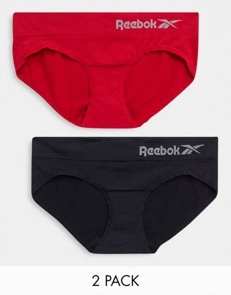 Reebok - Nahtlose Slips im 2er-Pack in Schwarz & Rot