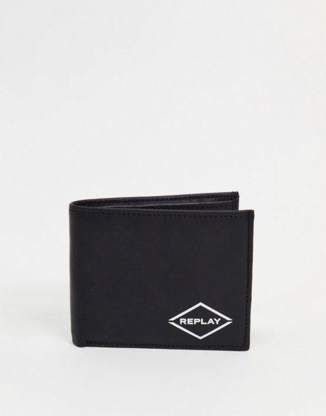 Replay - Geldbörse mit Logo-Schwarz