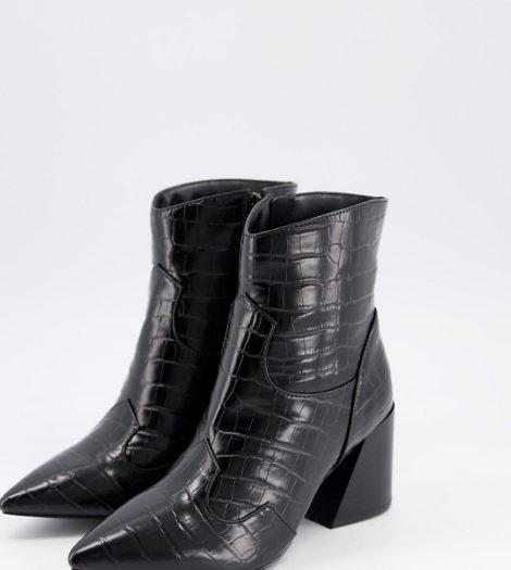 Simply Be - Extra Wide Fit - Stiefel mit Absatz in Kroko-Schwarz
