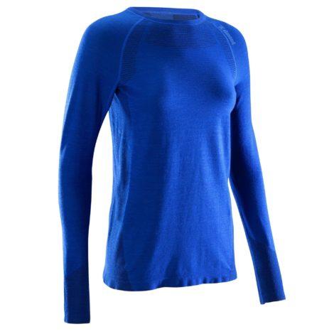 T-Shirt Langarm Seamless Wolle Bergsteigen Damen blau