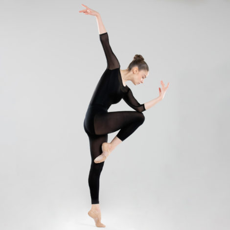 Tanzbody Ballett langarm Bi-Material Damen schwarz